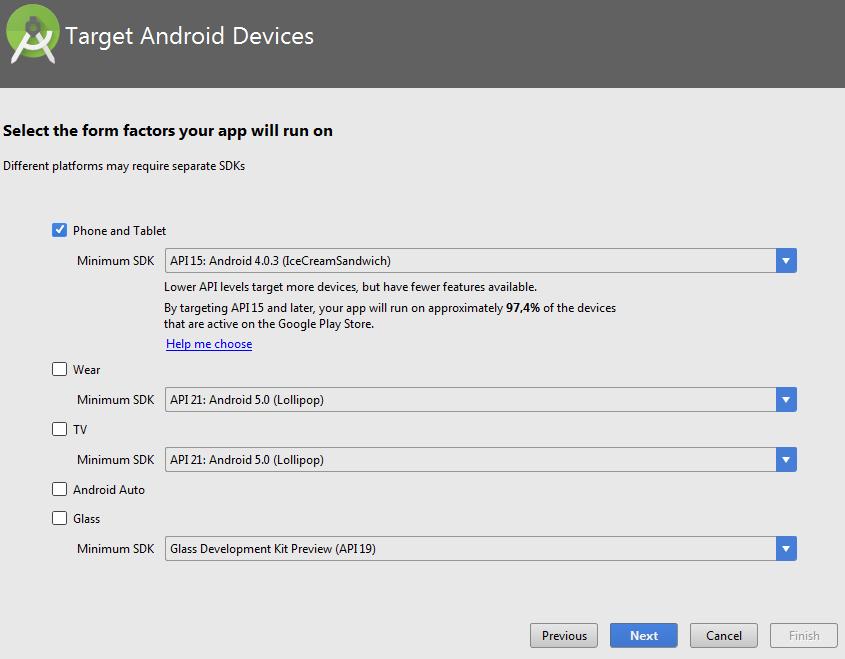 Создание приложения в Андроид Студио. Выбор версии