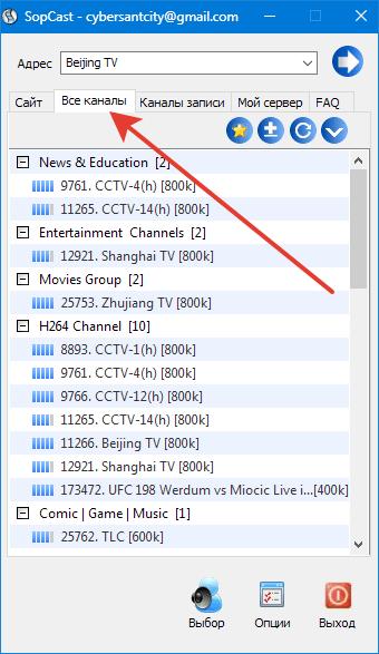 Список доступных спутниковых каналов - Таблица спутниковых