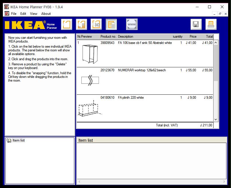 Список товаров в IKEA Home Planner