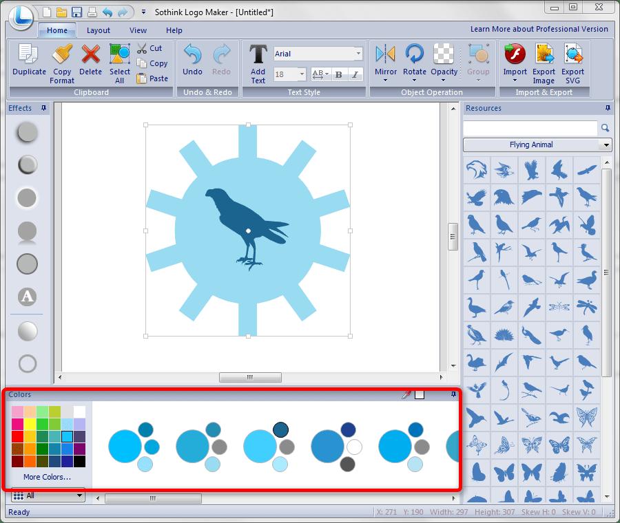 Цветовая панель Sothink Logo Maker