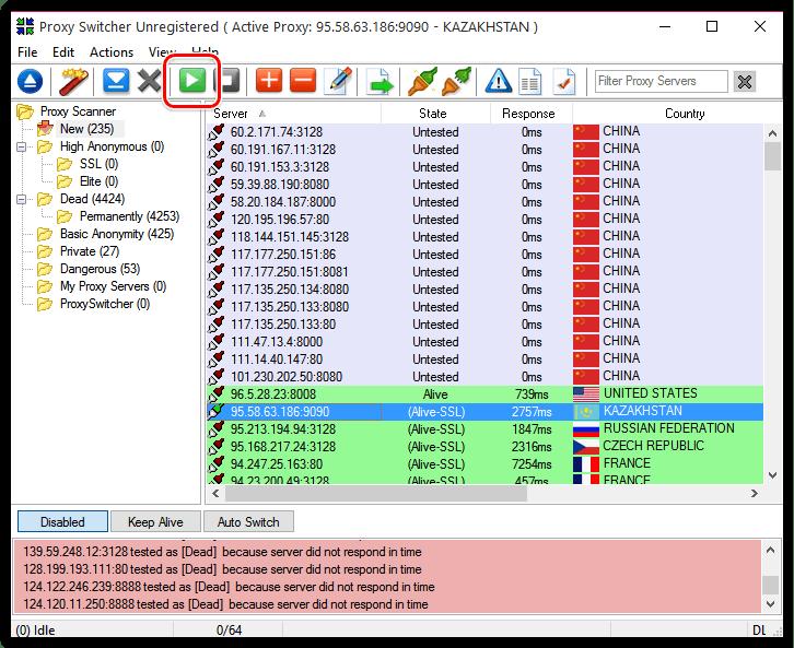 Тестирование прокси-сервера в Proxy Switcher