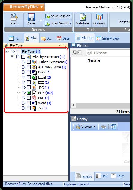 Тип отображения найденных папок в Recover My Files