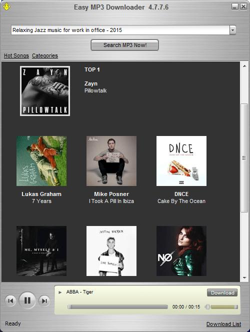 Топ музыки в Easy Mp3 Downloader