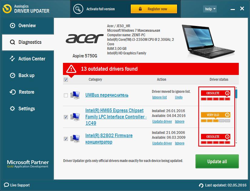 Уровень старости в Auslogics Driver Updater