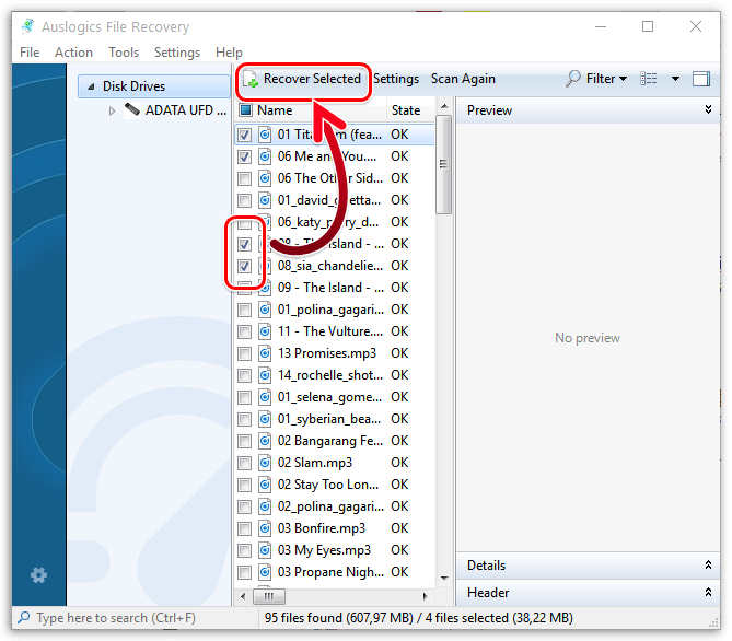 Восстановление файлов в Auslogics File Recovery
