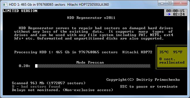 Восстановление с помощью HDD Regenerator