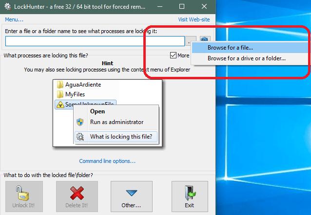 Выбор файла или папки для удаления в LockHunter