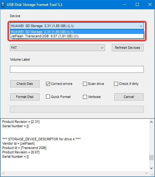 Выбор флешки в HP USB Disk Storage Format Tool