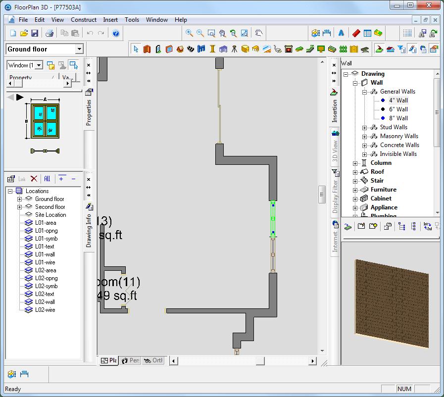 Выбор окна в floorplan 3d
