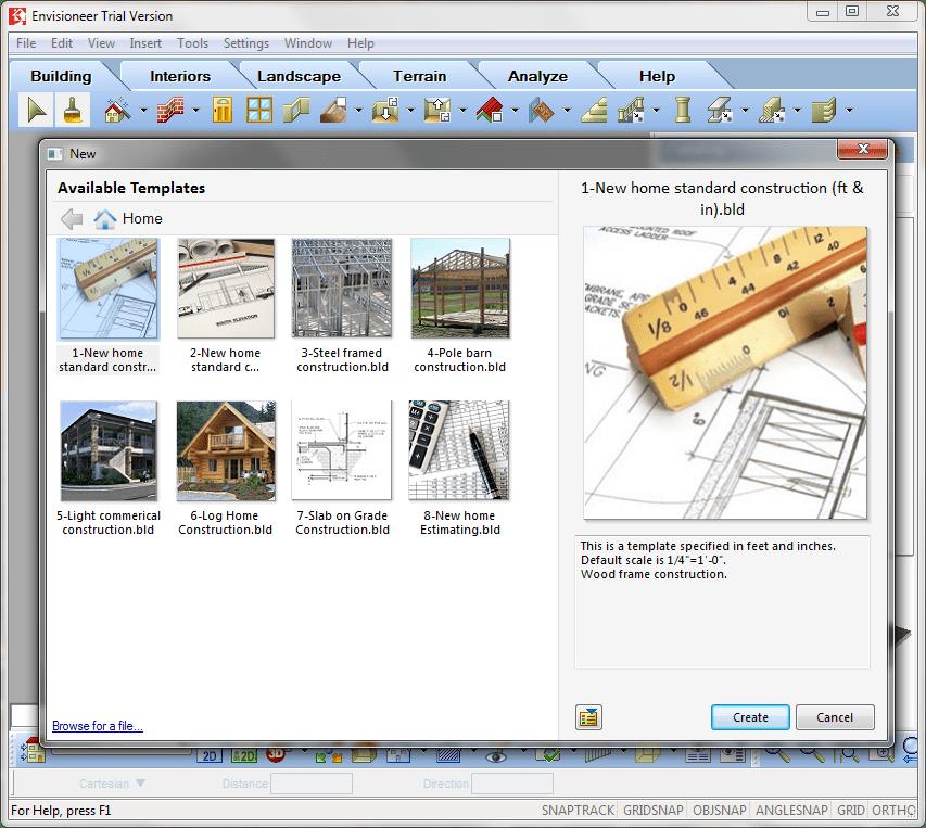 Выбор шаблона в Envisioneer Express