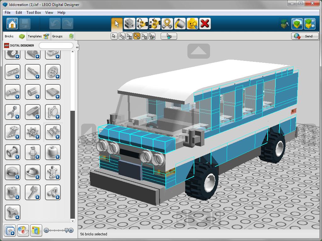 Выделение деталей по цвету в lego Digital Designer