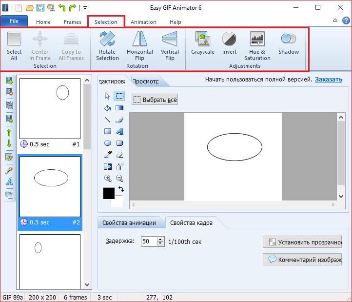 Выделение в Easy GIF Animator