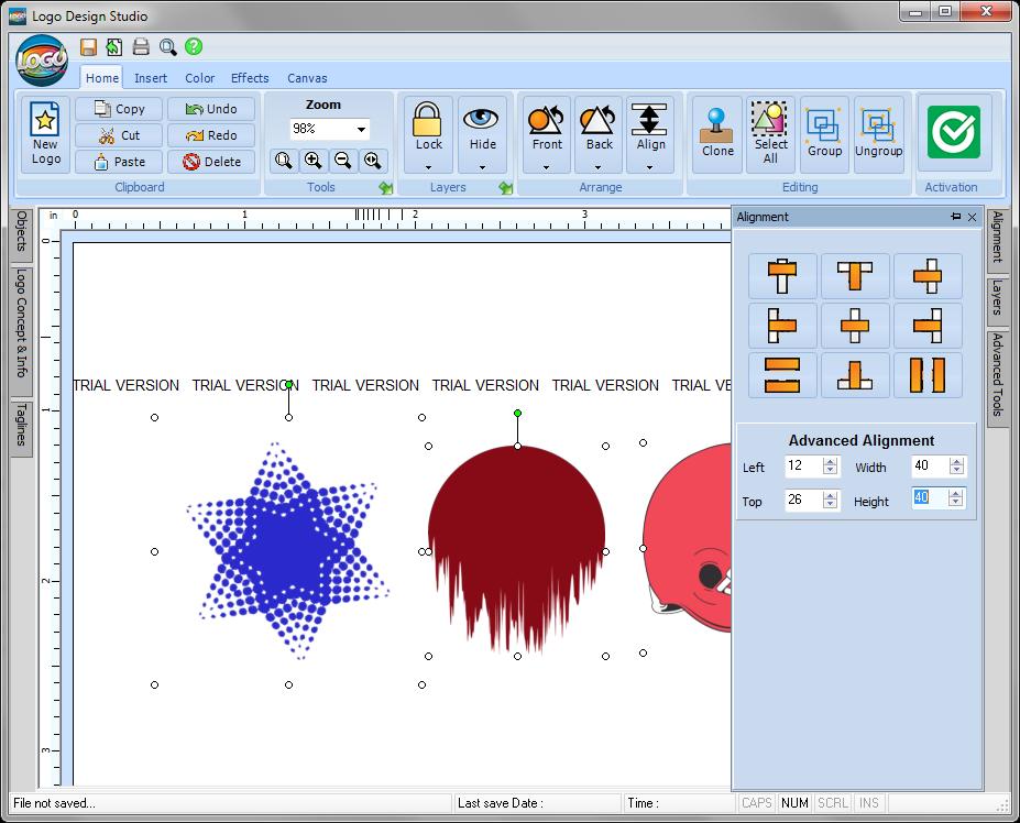 Выравнивание элементов в Logo Design Studio