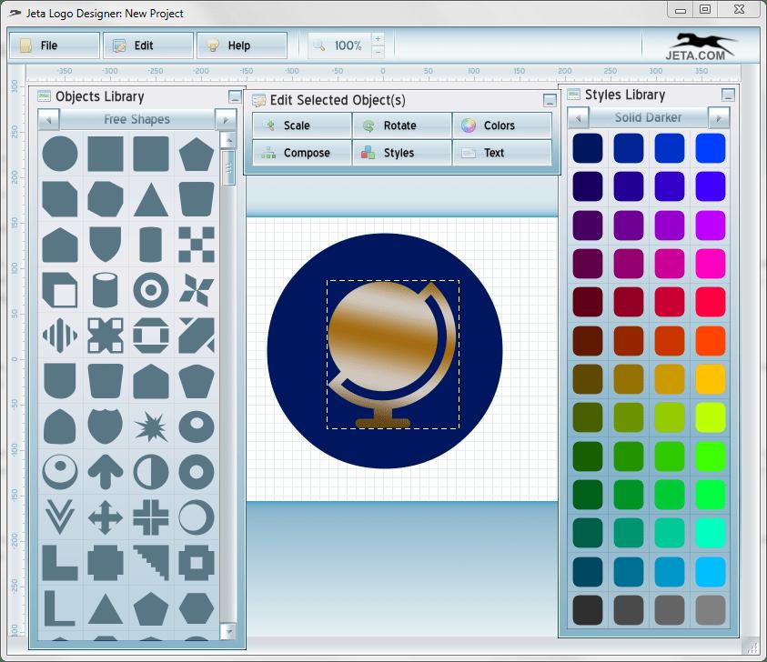 Заливка градиентом в Jeta logo Designer