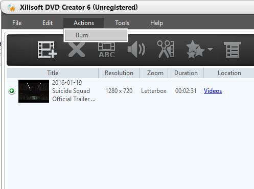 Запись готового фильма на DVD в Xilisoft DVD Creator