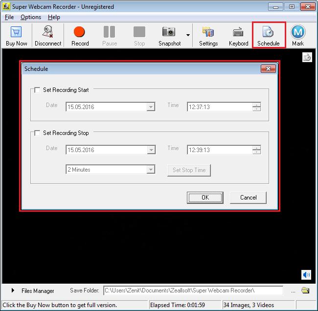 Запись по расписанию в Super Webcam Recorder