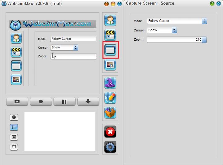 Запись видео с экрана компьютера в WebcamMax