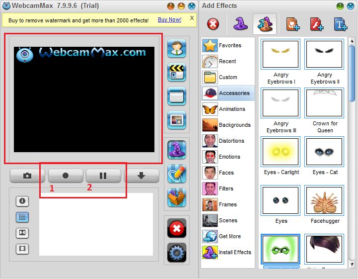 Запись видео с экрана в WebcamMax