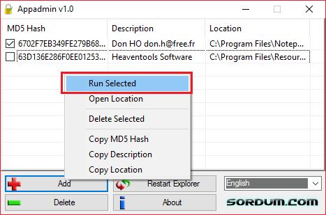 Запуск блокированных приложений в AppAdmin