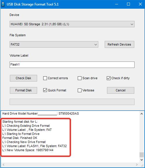 Завершение форматирования HP USB Disk Storage Format Tool