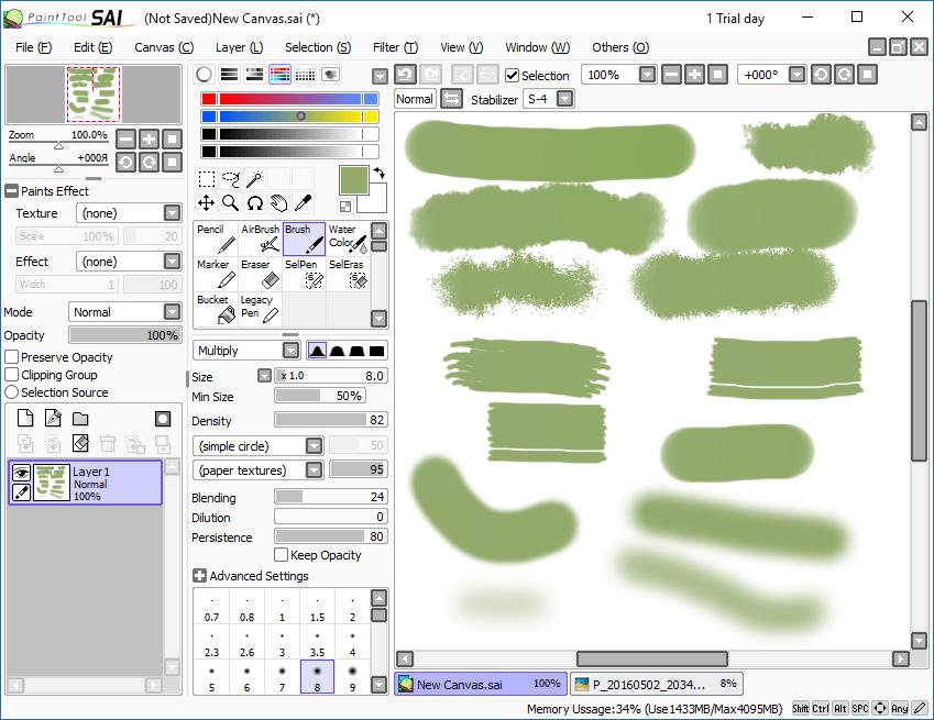кисти  в PaintTool Sai