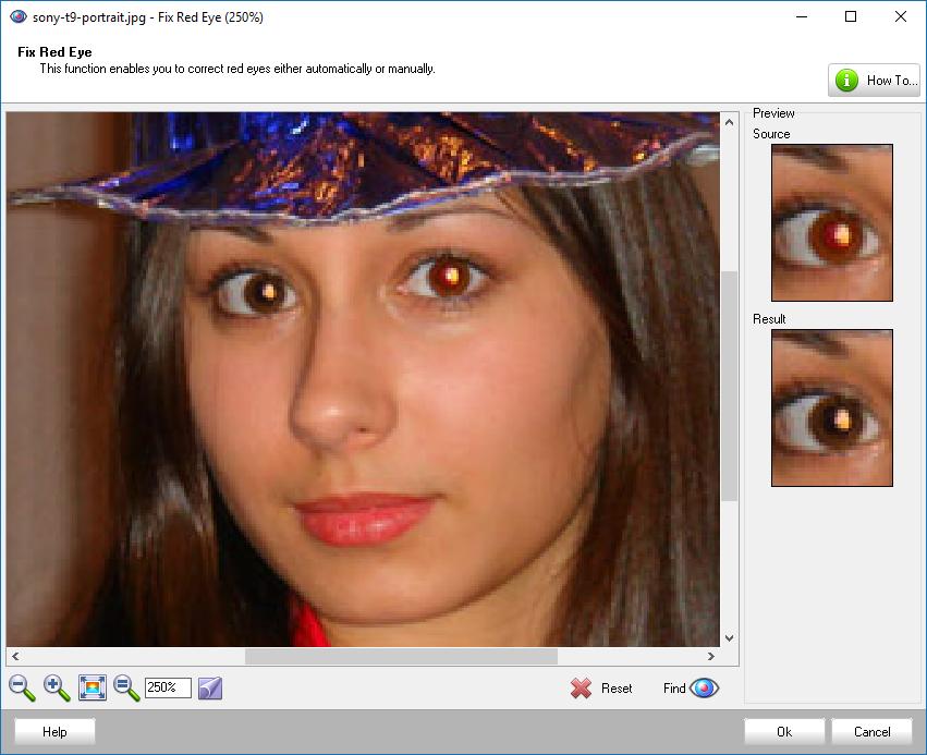 красные глаза в Photo! Editor