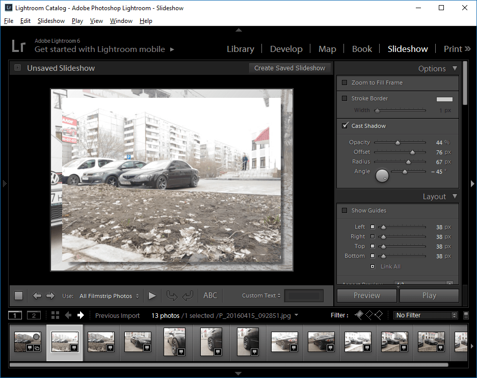 слайд-шоу в Lightroom