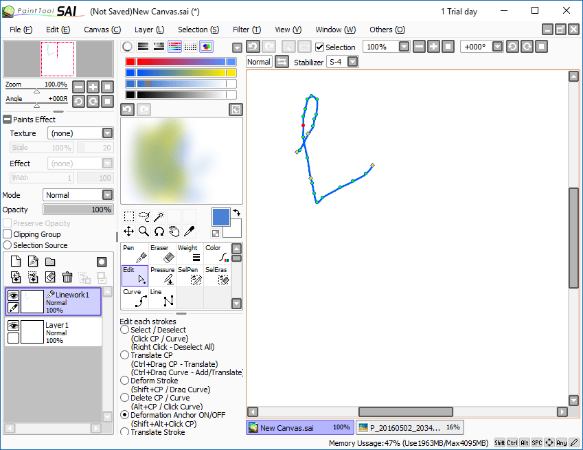 векторная графика в PaintTool Sai