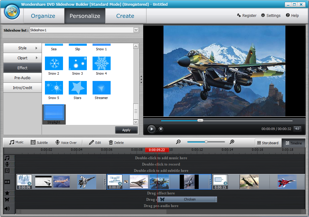 9.эффекты в wondershare  DVD Slideshow Builder Deluxe