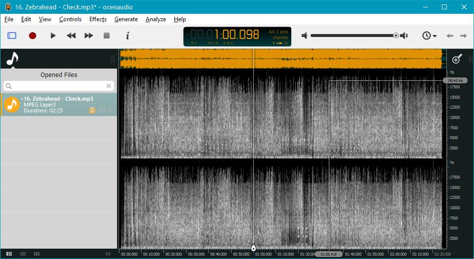Анализ аудио в OcenAudio