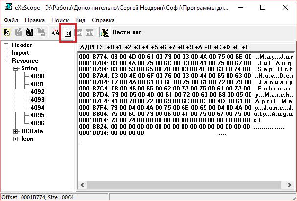 Бинарный режим просмотра в eXeScope