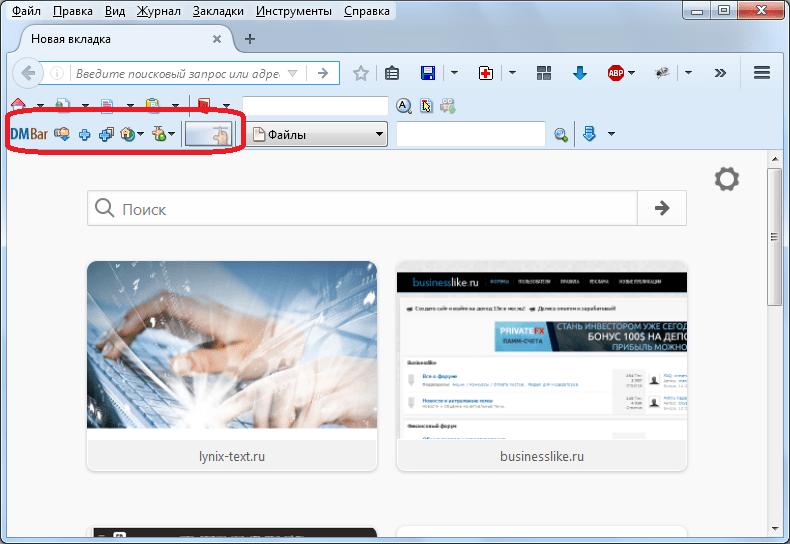 DM бар в браузере Mozilla Firefox