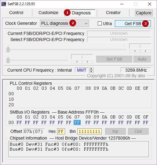 Диагностика PLL в SetFSB-1