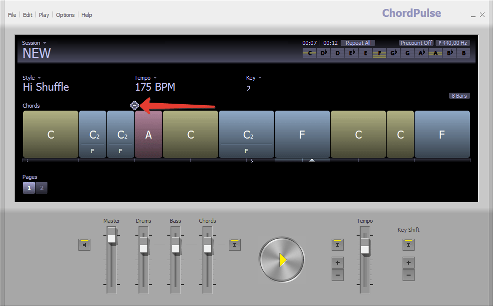 Добавление переходов в ChordPulse