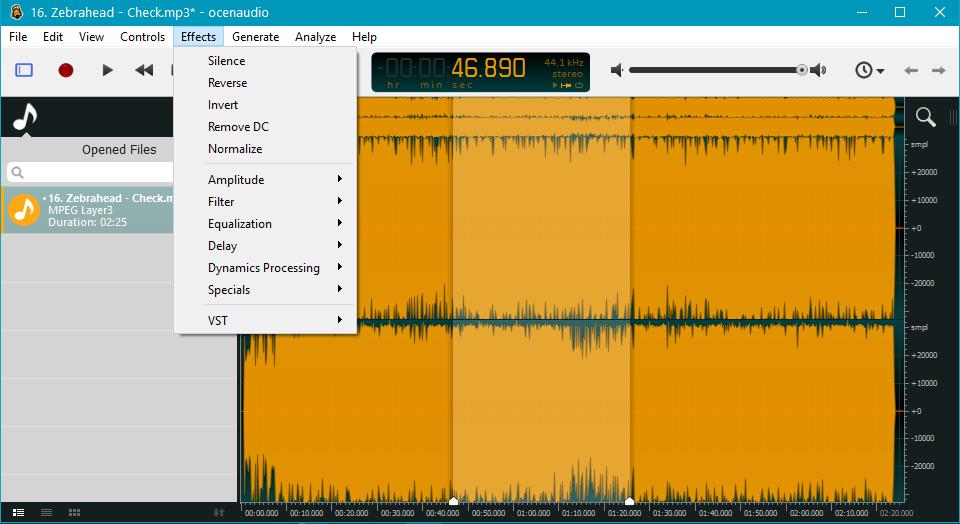 Эффекты и фильтры в OcenAudio