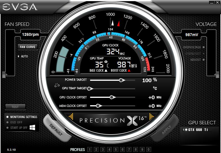 Главное окно EVGA Precision X