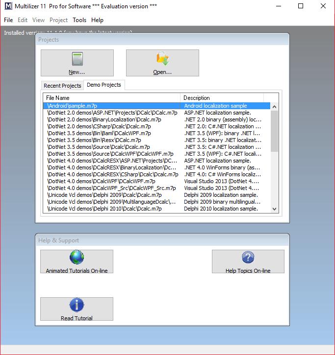 Главное окно Multilizer для Программы для русификации программ
