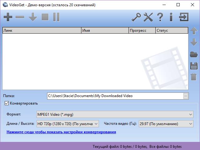 Главное окно VideoGet