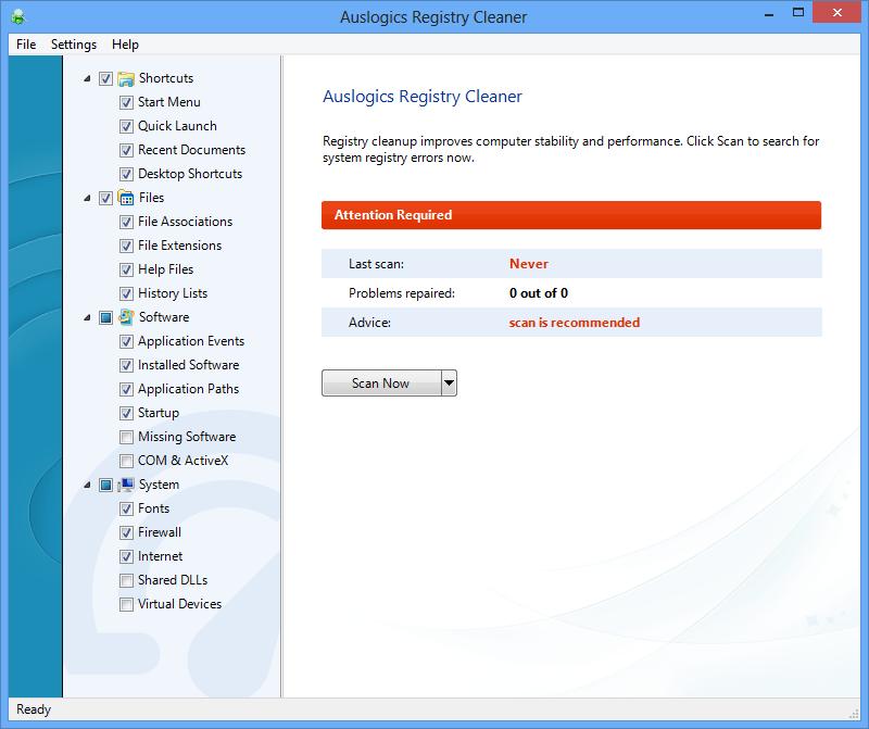 Главное окно auslogics registry