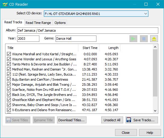Импорт треков с CD в GoldWave