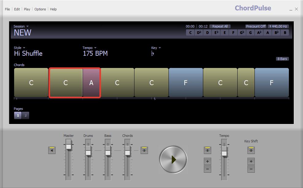Изменение размера в ChordPulse