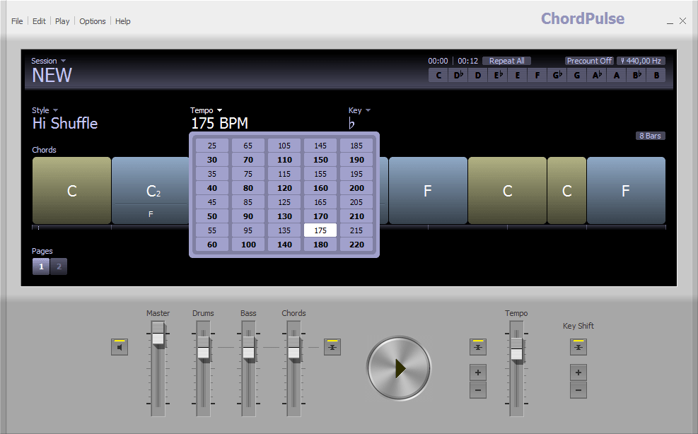 Изменение темпа (bpm) в ChordPulse