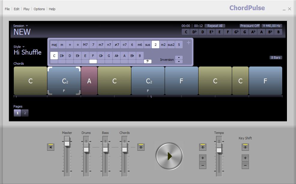 Изменение тональности в ChordPulse