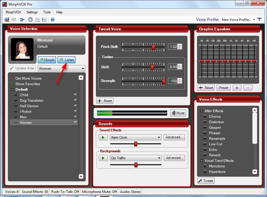Кнопка прослушки голоса в Morph VOX Pro