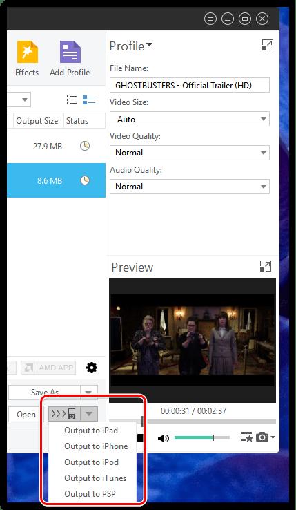 Конвертирование видео для мобильных устройств в Xilisoft Video Converter