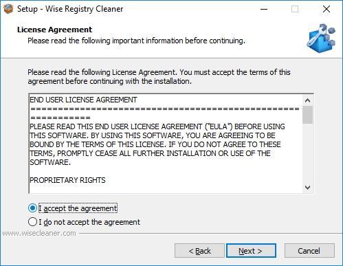 Лицензионное соглашение Wise Registry Cleaner