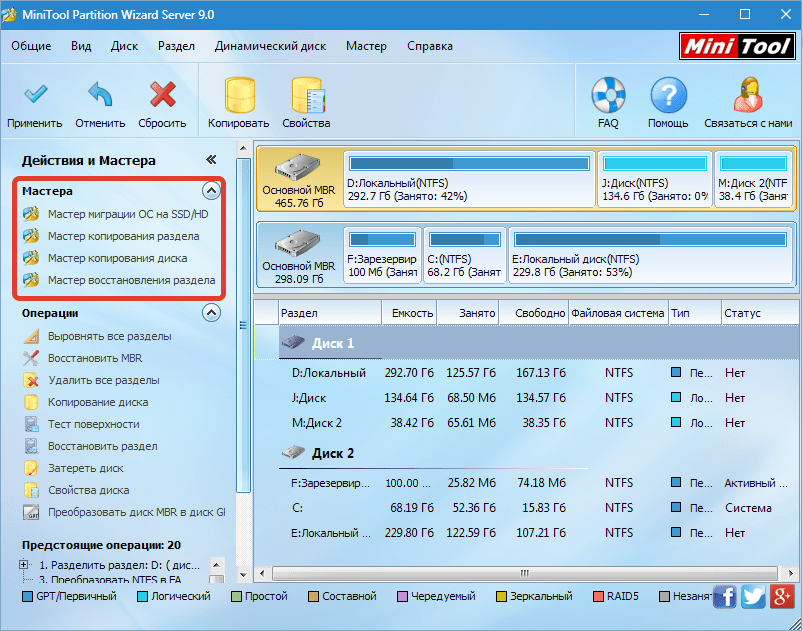 Мастера MiniTool Partition Wizard