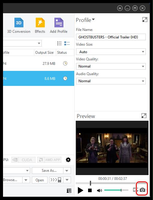 Моментальный захват кадра в Xilisoft Video Converter