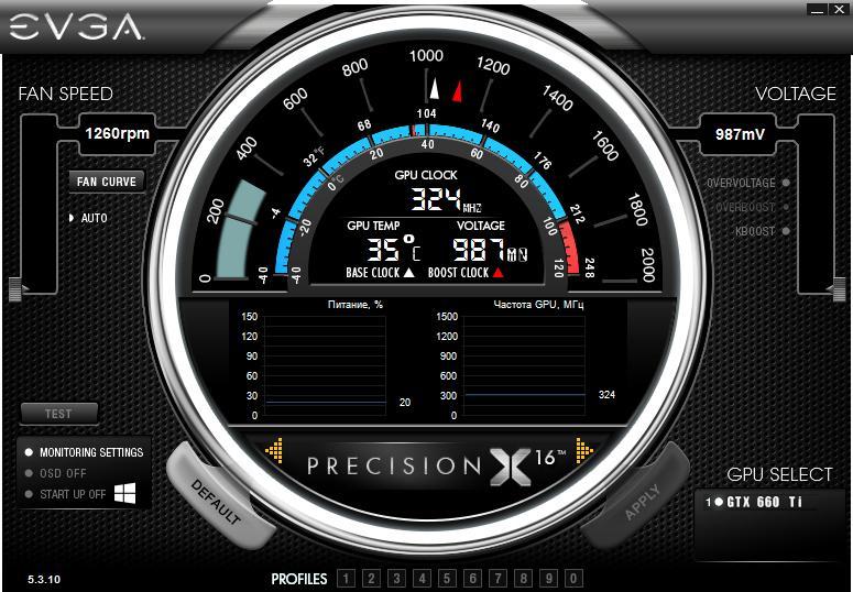 Мониторинг EVGA Precision X