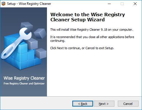 Начало установки Wise Registry Cleaner